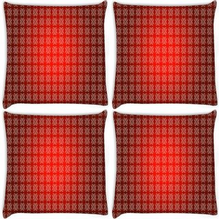 Snoogg Pack Of 4 Colorful Pattern Design Digitally Printed Cushion Cover Pillow 10 x 10 Inch