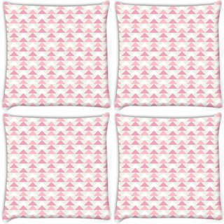 Snoogg Pack Of 4 Small Triangles Digitally Printed Cushion Cover Pillow 10 x 10 Inch