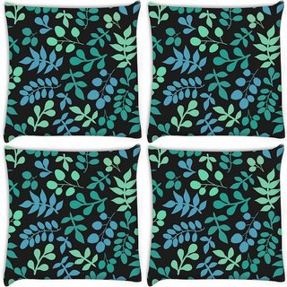 Snoogg Pack Of 4 Multicolor Leaves Digitally Printed Cushion Cover Pillow 10 x 10 Inch
