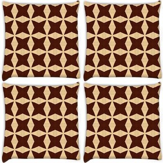 Snoogg Pack Of 4 Brown Stars Digitally Printed Cushion Cover Pillow 10 x 10 Inch