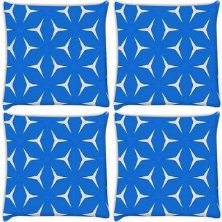Snoogg Pack Of 4 White In Blue Pattern Digitally Printed Cushion Cover Pillow 10 x 10 Inch