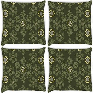 Snoogg Pack Of 4 Abstract Green Pattern Digitally Printed Cushion Cover Pillow 10 x 10 Inch