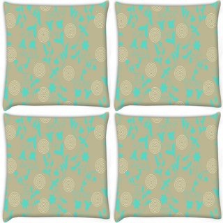 Snoogg Pack Of 4 Green Floral Digitally Printed Cushion Cover Pillow 10 x 10 Inch