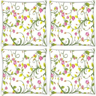 Snoogg Pack Of 4 Pink Floral Digitally Printed Cushion Cover Pillow 10 x 10 Inch
