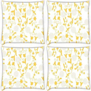 Snoogg Pack Of 4 Yellow Leaves Digitally Printed Cushion Cover Pillow 10 x 10 Inch