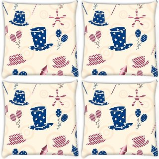 Snoogg Pack Of 4 Blue Hat Digitally Printed Cushion Cover Pillow 10 x 10 Inch