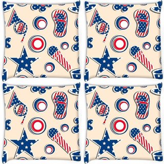 Snoogg Pack Of 4 Us Stars Digitally Printed Cushion Cover Pillow 10 x 10 Inch