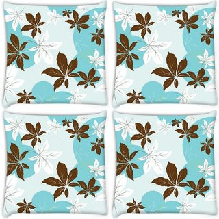 Snoogg Pack Of 4 Abstract Leaves Pattern Digitally Printed Cushion Cover Pillow 10 x 10 Inch