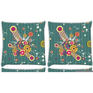 Snoogg Pack Of 4 Music Blast Digitally Printed Cushion Cover Pillow 10 x 10 Inch