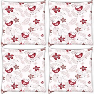 Snoogg Pack Of 4 Red Bird Digitally Printed Cushion Cover Pillow 10 x 10 Inch