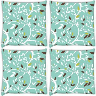 Snoogg Pack Of 4 White Leaves Digitally Printed Cushion Cover Pillow 10 x 10 Inch