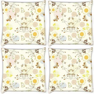 Snoogg Pack Of 4 Lite Garden Pattern Digitally Printed Cushion Cover Pillow 10 x 10 Inch