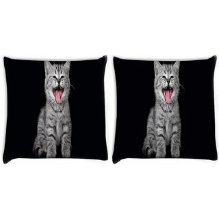 Snoogg Pack Of 2 Laughing Cat Digitally Printed Cushion Cover Pillow 10 x 10 Inch