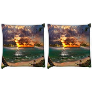 Snoogg Pack Of 2 Sea Side View Digitally Printed Cushion Cover Pillow 10 x 10 Inch
