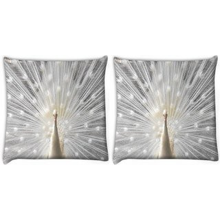 Snoogg Pack Of 2 White Peacock Digitally Printed Cushion Cover Pillow 10 x 10 Inch