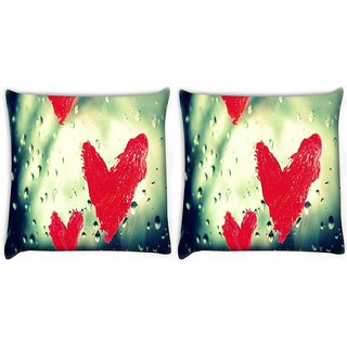 Snoogg Pack Of 2 Red Heart Digitally Printed Cushion Cover Pillow 10 x 10 Inch