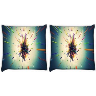 Snoogg Pack Of 2 Abstract Amazed Design Digitally Printed Cushion Cover Pillow 10 x 10 Inch