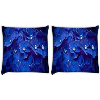 Snoogg Pack Of 2 Blue Flower Digitally Printed Cushion Cover Pillow 10 x 10 Inch