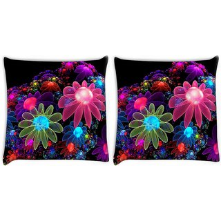 Snoogg Pack Of 2 Floral Design Digitally Printed Cushion Cover Pillow 10 x 10 Inch