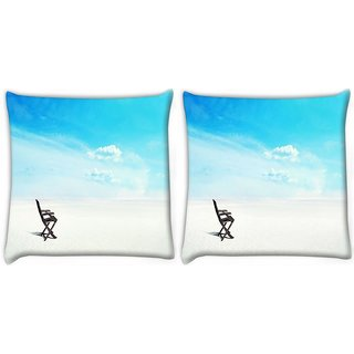 Snoogg Pack Of 2 White Sand Digitally Printed Cushion Cover Pillow 10 x 10 Inch