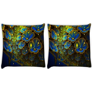 Snoogg Pack Of 2 Blue Floral Petals Digitally Printed Cushion Cover Pillow 10 x 10 Inch