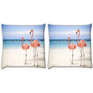 Snoogg Pack Of 2 Two Animals Digitally Printed Cushion Cover Pillow 10 x 10 Inch