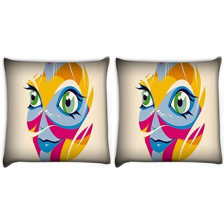 Snoogg Pack Of 2 Smiling Face Digitally Printed Cushion Cover Pillow 10 x 10 Inch