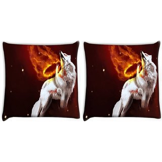 Snoogg Pack Of 2 White Wolf Digitally Printed Cushion Cover Pillow 10 x 10 Inch