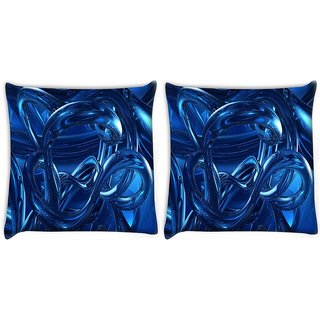 Snoogg Pack Of 2 Abstracts Dark Blue Digitally Printed Cushion Cover Pillow 10 x 10 Inch