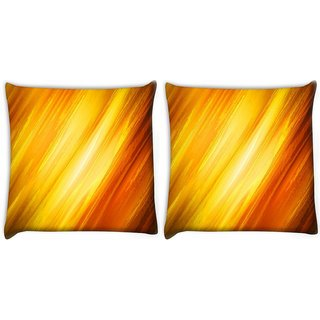 Snoogg Pack Of 2 Abstract Yellow And Orange Digitally Printed Cushion Cover Pillow 10 x 10 Inch