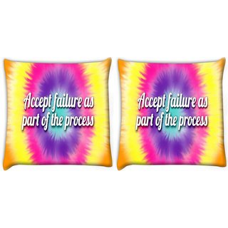 Snoogg Pack Of 2 Accept Failure Quote Digitally Printed Cushion Cover Pillow 10 x 10 Inch