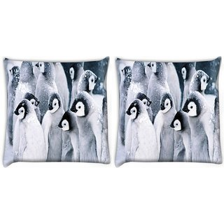 Snoogg Pack Of 2 Animal Penguin Digitally Printed Cushion Cover Pillow 10 x 10 Inch