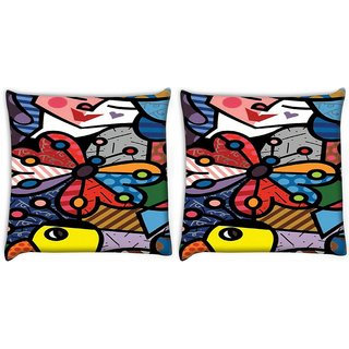 Snoogg Pack Of 2 Multicolor Butterfly Digitally Printed Cushion Cover Pillow 10 x 10 Inch