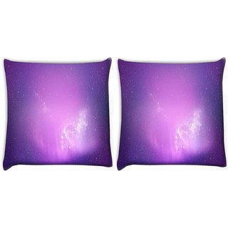Snoogg Pack Of 2 Aurora Wallpaper Digitally Printed Cushion Cover Pillow 10 x 10 Inch