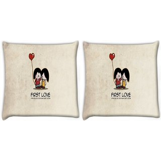 Snoogg Pack Of 2 First Love Digitally Printed Cushion Cover Pillow 10 x 10 Inch