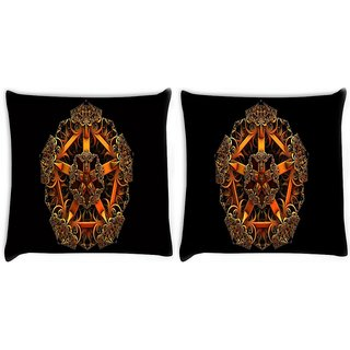 Snoogg Pack Of 2 Fractal Jewel Digitally Printed Cushion Cover Pillow 10 x 10 Inch