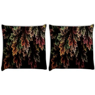 Snoogg Pack Of 2 Fractal Leaves Digital Art Digitally Printed Cushion Cover Pillow 10 x 10 Inch