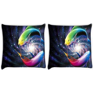 Snoogg Pack Of 2 Colorful Fish Digitally Printed Cushion Cover Pillow 10 x 10 Inch