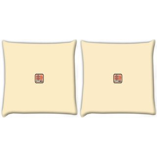 Snoogg Pack Of 2 Human And Computer Digitally Printed Cushion Cover Pillow 10 x 10 Inch