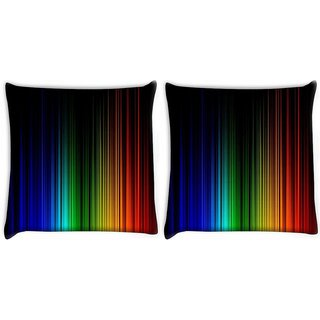 Snoogg Pack Of 2 Rainbow Color Design Digitally Printed Cushion Cover Pillow 10 x 10 Inch