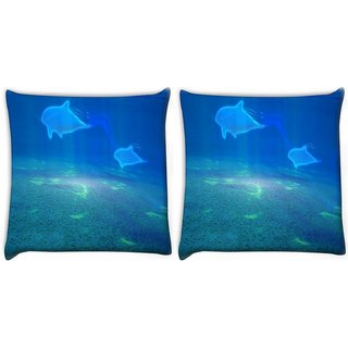 Snoogg Pack Of 2 Invisible Fish In The Sea Digitally Printed Cushion Cover Pillow 10 x 10 Inch