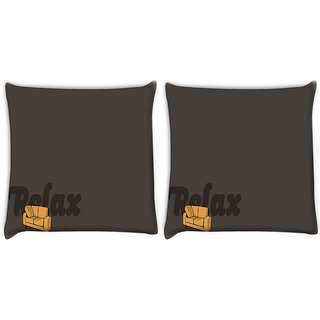 Snoogg Pack Of 2 Relax Sofa Digitally Printed Cushion Cover Pillow 10 x 10 Inch