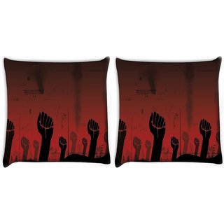 Snoogg Pack Of 2 Revolution Hand Digitally Printed Cushion Cover Pillow 10 x 10 Inch