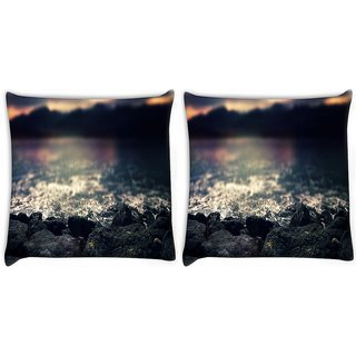 Snoogg Pack Of 2 Rocks At Shore Beach Digitally Printed Cushion Cover Pillow 10 x 10 Inch
