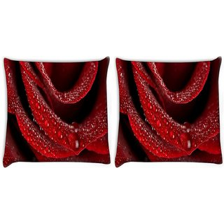 Snoogg Pack Of 2 Water Drops In Rose Flower Digitally Printed Cushion Cover Pillow 10 x 10 Inch
