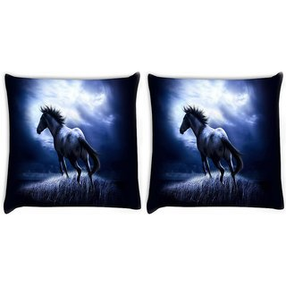 Snoogg Pack Of 2 Runninghorse Digitally Printed Cushion Cover Pillow 10 x 10 Inch