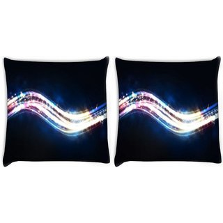 Snoogg Pack Of 2 Shiny Wave Digitally Printed Cushion Cover Pillow 10 x 10 Inch
