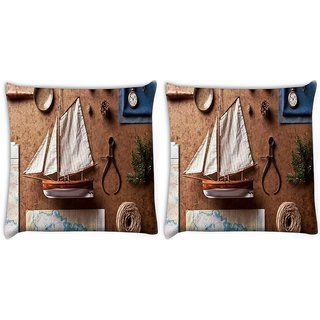 Snoogg Pack Of 2 Small Ship On Desk Digitally Printed Cushion Cover Pillow 10 x 10 Inch
