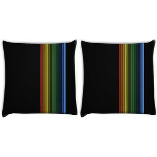 Snoogg Pack Of 2 Simple Lines Vector Digitally Printed Cushion Cover Pillow 10 x 10 Inch