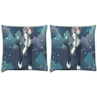 Snoogg Pack Of 2 Snow Queen Digitally Printed Cushion Cover Pillow 10 x 10 Inch